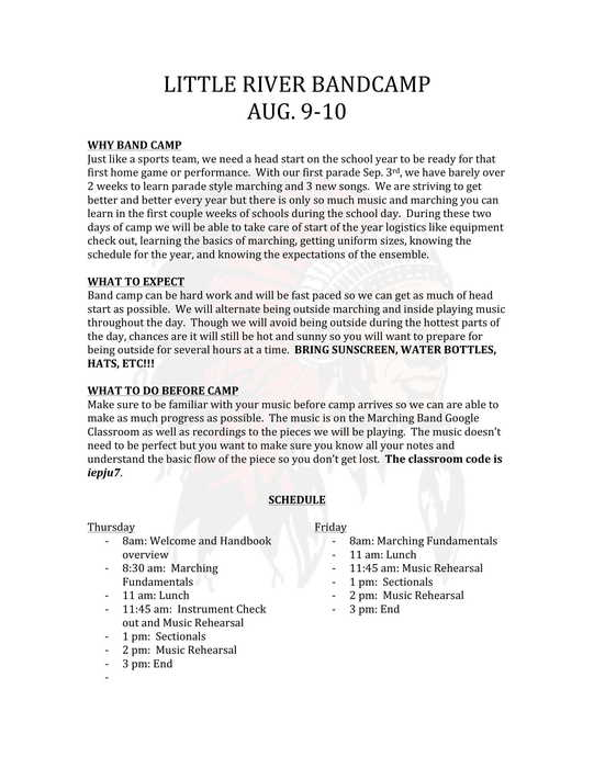 Band Camp Letter