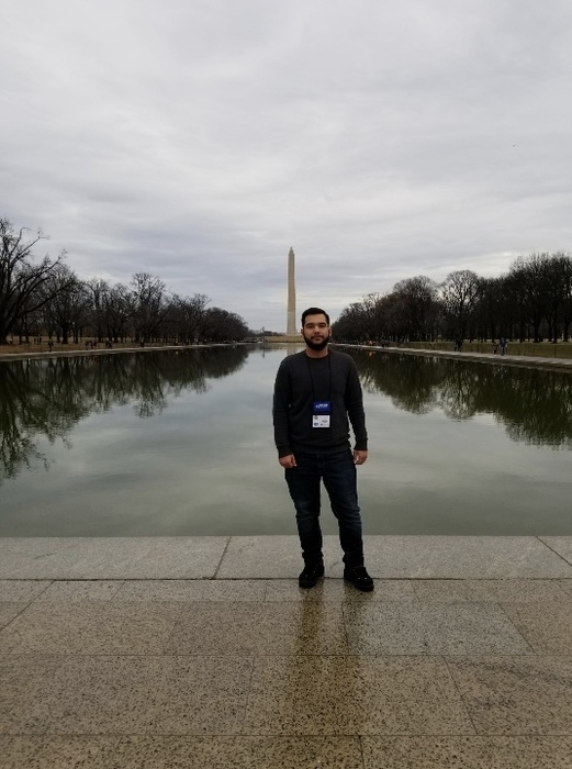 Azim in front of the Washington Monument