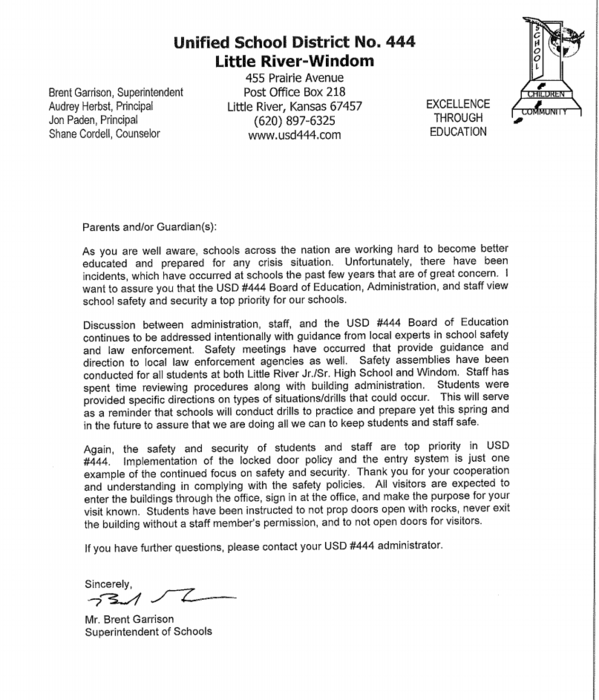 School Safety Letter