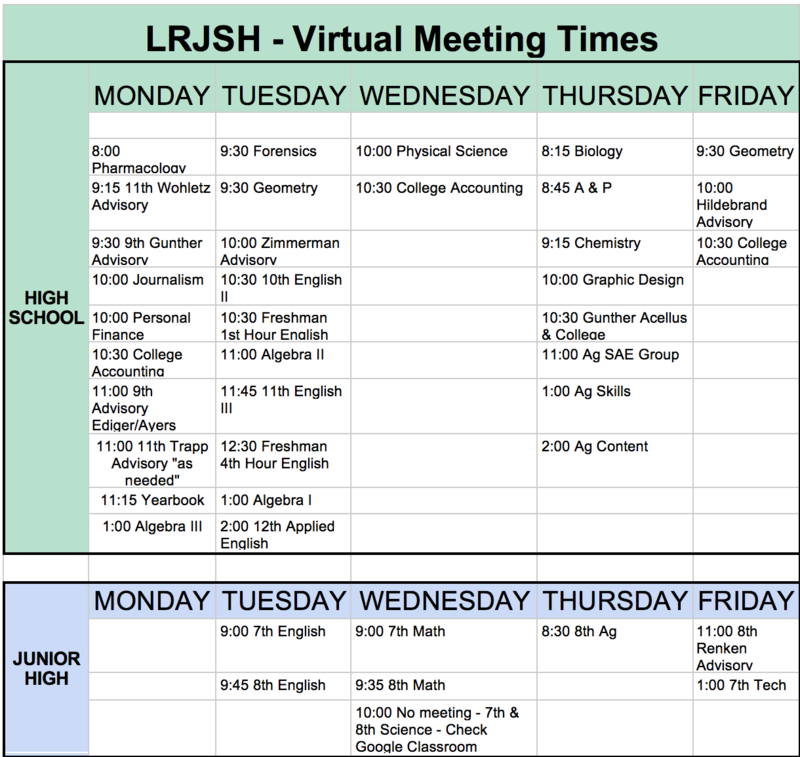LRJSH Continued Learning Plan Information
